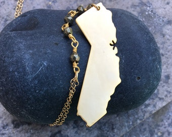 WESTWARD // 14k Gold Filled and Pyrite Rosary California Necklace // California Boho Festival Wear