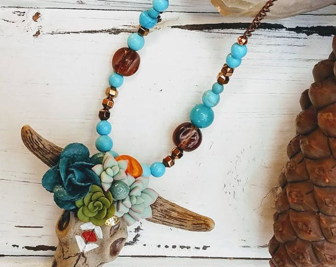 bull skull necklace boho choker cactus mint green and turquoise