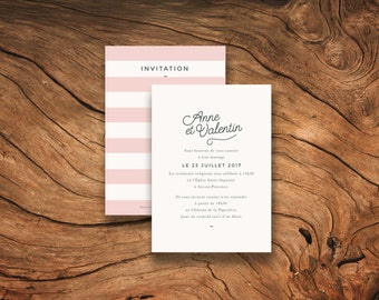 Faire-part mariage - Collection Stripes - Version rose