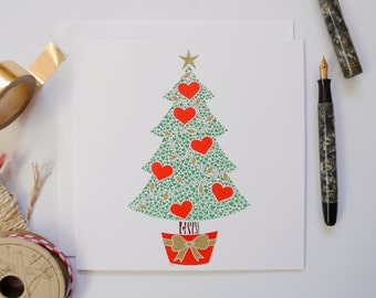 Christmas card – Holiday card – Christmas tree – hearts – papercut card – love card – Christmas card for wife – Xmas card for girlfriend