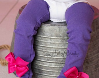 Purple Leg Warmers With Pink Bows Baby Girls