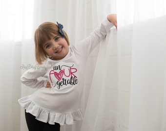 Un Four Gettable Girls Birthday Shirt 4 4th Heart ANY COLORS Embroidered