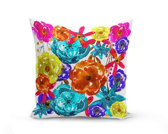 Floral Pillow Cover, Throw Pillow, Watercolor Floral Print, Home Decor, Sofa Pillow Cover, cushion cover