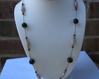 Vintage Antique Early 40s Art Deco Lampwork Glass Wedding Cake Bead Necklace FREE Shipping