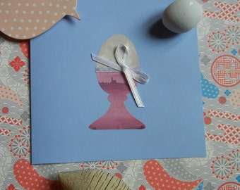 set of 4 Easter cards - cards with eggcup decorations