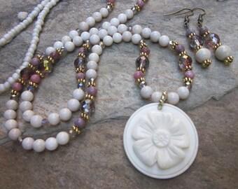 long beaded necklace earring set river stone beaded necklace pink lepidolite green rose Czech glass beaded necklace bone flower pendant