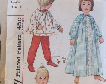 Vintage, Sewing Pattern, Simplicity No 4719, Toddler, Size 1, Infant Baby, Girls, Nightgown, Pajamas, 2 Lengths, 12 mos