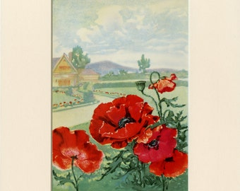 Red Poppy Flowers Art Print C.1926 by L.A. Simonson - Vintage Art - Wall Art, Home Decor, Gift Idea - Matted 8x10 - Garden Plants