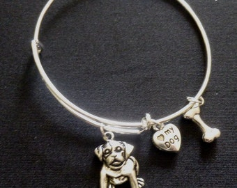 """CHOOSE YOUR BREED ~ Expandable Wire Bracelet with """"Love my Dog"""" and Bone Charms ~ Adult or Child ~ See Second Pic for Charms"""