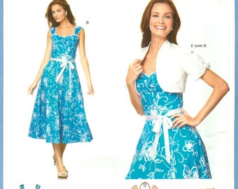 2007 Misses' Fit and Flare Dress with Short Sleeve Bolero Jacket UC FF Size 8,10,12,14,16,18 -  Simplicity New Look Sewing Pattern 6675