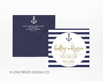 Nautical Wedding Invitations, Printable Wedding Invitation Template, Navy Theme Wedding Invitation, Beach Theme Wedding Invites, Weddings