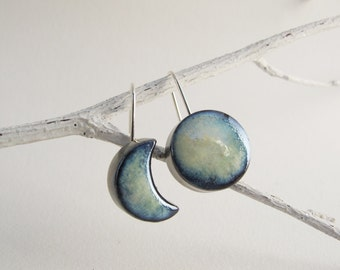 Ceramic dangle earrings, mismatched earrings, light blue moon, sterling silver wire