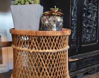 Vintage Wicker Plant Stand • Small Side Table
