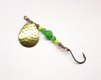 Fishing tackle, handmade lure, spinner lure, trolling lure, lake fishing, wire wrapped on bronze wire