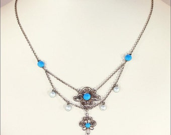 Antique Marius Hammer Necklace with Blue and White Enamel in Silver
