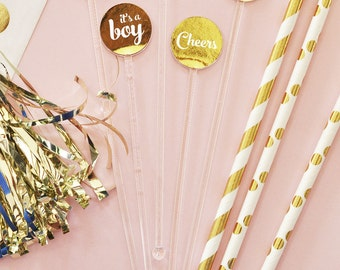 Baby Shower Decorations - Gold Baby Shower Drink Stirrers Baby Drink Stirs (EB3126) set of 25