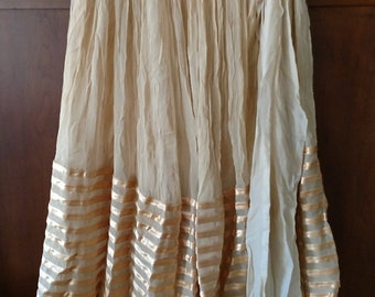 Sweet Vintage Costume Skirt Beige with Gold Satin Ribbon Trim Belly Dance performance Folkloric Cabaret  Modern size S-M