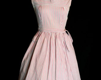 Original Vintage 1950's Candy Stripe Day Dress By MCM