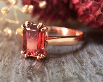 5x7MM Pink Tourmaline Solitaire Engagement Ring   Prong Setting   Solid 14K Gold   Colored Stone Ring   Fine Jewelry   Free Shipping