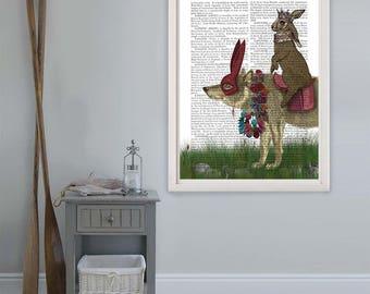 Hare Print - Arrival of the Hare King - hare illustration hare art print wolf print wolf art wolf wall art woodland wall art fairytale art