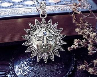 Large Sun Pendant, Sun and Moonstone, Star Pendant, Rainbow Moonstone