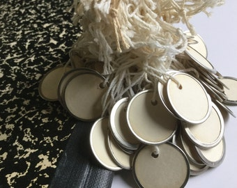 Vintage Supply of 94 Round Disc Tags Lot Metal Paper Price Tag Hang Tag