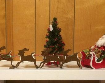 Santa,sleigh and reindeer, handcrafted