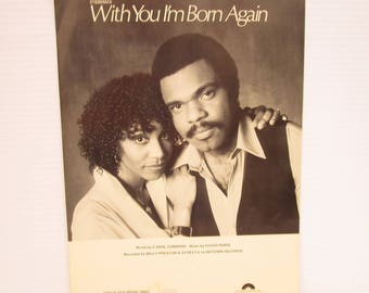 With You I'm Born Again SHEET MUSIC, vintage piano music, vintage sheet music, 1970s piano music, romantic piano music, love song music