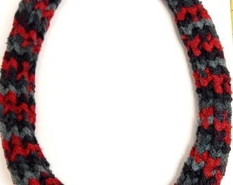 Red, black, gray knitted scarf necklace