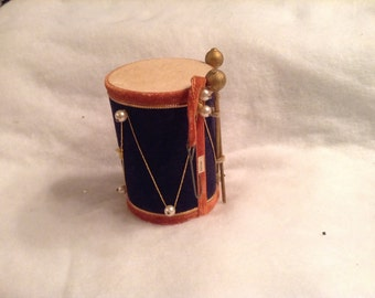 Vintage Drum Christmas Ornament. Navy Blue and faded red. With Drumsticks. Made in Japan. 1950's. 3.25 inch.