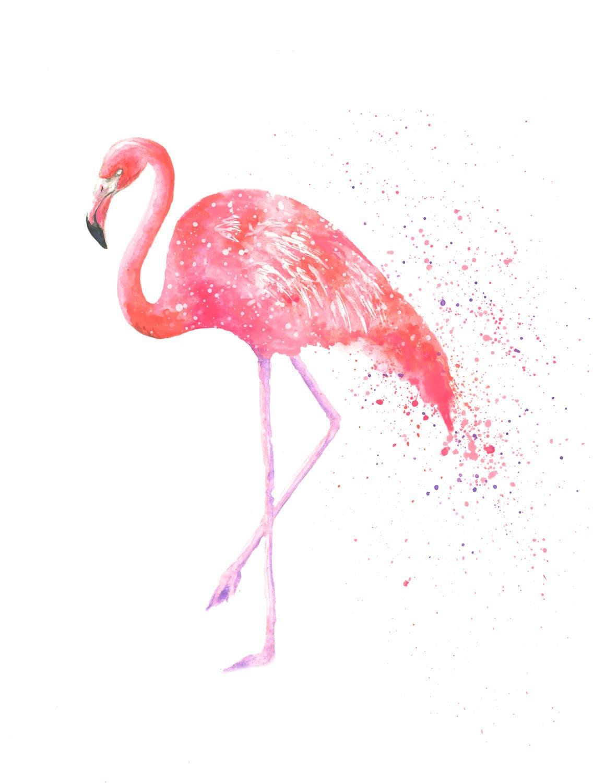 Pink flamingo painting flamingo watercolour print flamingo