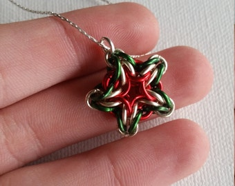Red Green and Silver Christmas Star Chainmaille Sterling Silver Necklace