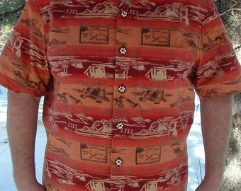Alaska Camping Hawaiian Shirt Gift for Dad Outdoors Hiking Shirt Unique Gift Wilderness Dogs Gift for Him