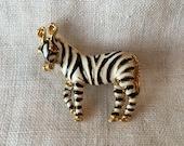 Vintage Zebra Brooch, Black White Stripes, Red Rhinestone Eyes, Gold Tone, MK237