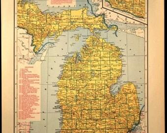 Michigan Map Michigan Vintage Railroad State 1940s Yellow