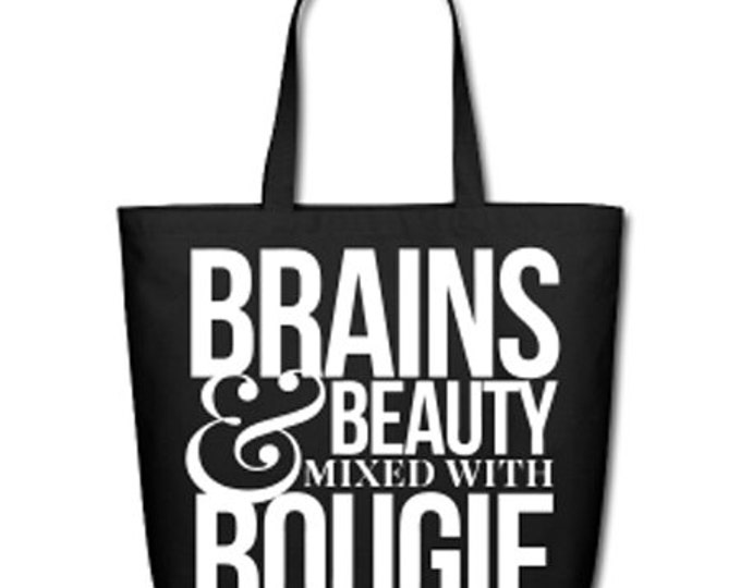 Brains & Beauty Mixed With Bougie Natural Cotton Canvas Tote - Black