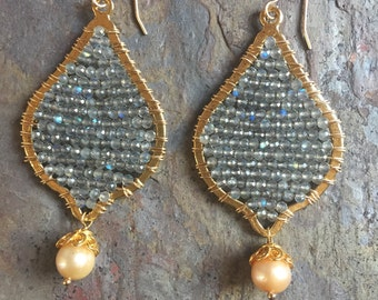 Gold hoop statement earrings with faceted labradorite gemstones and freshwater pearls