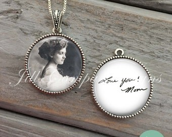 Custom Handwriting Necklace, Handwriting Jewelry, custom photo pendant, Your OWN HANDWRITING & PHOTO , Personalized Gift for Christmas