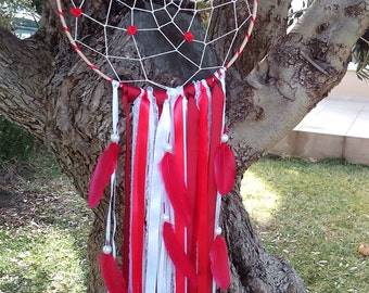READY TO SHIP - Sale - Red Dream Catcher -Dream Catcher - Wedding Dream Catcher - Boho Dream Catcher - Nursery Dream Catcher - Wedding Decor