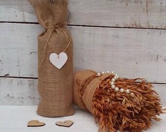 Burlap Wine Bags - Wine Bags - Wine Bottle Holder - Burlap Gift Bag - Wine Bottle Cosy - Wedding Wine Bags - Rustic Wine Bags - Set of 3