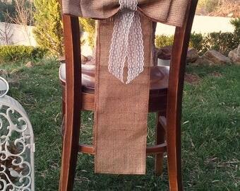 Chair Sash - Burlap Chair Swag - Burlap Chair Sash -  Burlap Chair Tie - Wedding Chair Sash - Rustic Wedding Chair Sash - Set of 10