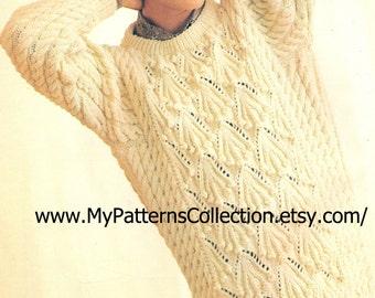 "Knitting pattern - Woman ""Long Line Aran Sweater"" - Instant download"