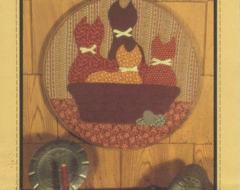 "Quilt these adorable Cats in a Basket. Place in a 14"" embroidery hoop to use as a Wall Hanging to bring Kitty Joy to your home!"