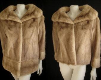 Rare Convertible Autumn Haze Honey PASTEL Brown MINK Fur Coat Jacket ~Two coats in one!