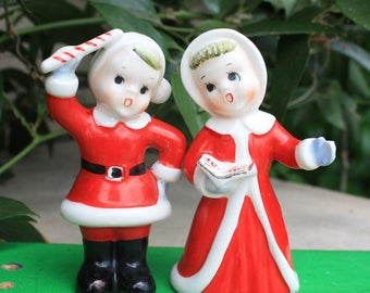 SOLD TO BECKY Vintage Napco Christmas Kid Carolers Salt & Pepper Shakers 1950s Japan Figurines Decorations Collectibles Candy Cane Song Book
