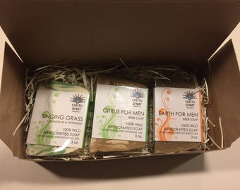3 Bar GIFT BOX for Him, Men's 3 Bar Variety Soap Collection, Singing Grass, Winter Hawk, Earth Beer Soap, Citrus Beer Soap, Father's Day