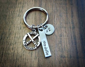 Hand Stamped Personalized Field Hockey Keychain - Field Hockey Gifts - Girls Field Hockey Team Gift -