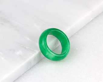 Mens Jade Ring/ Natural Jade Ring/ Green Jade Ring/ Jade Stone Ring/ Mint Green Ring