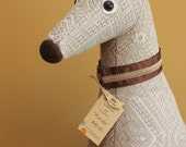 Meet Masala! Masala is a one-of-a-kind, almost life size, sitting soft sculpture greyhound.