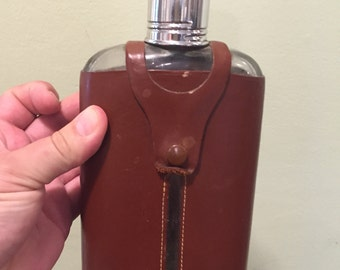 Vintage leather covered flask - English - perfect for a gentleman